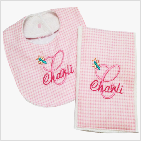 Personalized,Pink,and,White,2pc,Bib,Burp,cloth,set,with,Butterfly,Design-Minky,back,Butterfly bib and burp cloth set, newborn gift, baby shower gift, pink checked bib, pink burp cloth, gingham, butterfly, baby girl, pink, white minky fabric