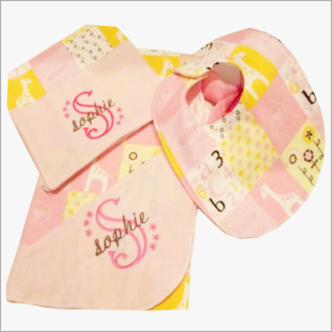 Girls,Pink,3,pc,Baby,Shower,Gift,Set/Receiving,Blanket/burp,Cloth/bib,Baby shower gift set, Girls 3 pc gift set, pink receiving blanket, pink burp cloth, pink bib, newborn, baby shower gift ideas