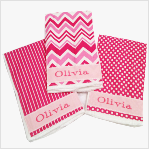 Personalized,Pink,Chevron,,Stripes,and,Polka,Dot,Burp,Cloth,Set,Burp cloth set, Polka Dots, Stripes, Newborn Burp Cloths, Baby Shower Gifts, Personalized Burps, Pink, Girls