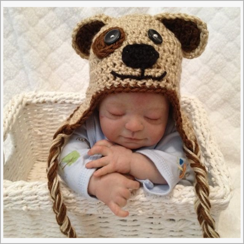 Puppy,Dog,Newborn,Hat,with,Braids,-,Photo,Prop,Puppy Hat, Newborn hat, Dog hat with Braids, Brown, chocolate brown, braided hat, photo prop, Baby Shower Gift, Boy, Girl