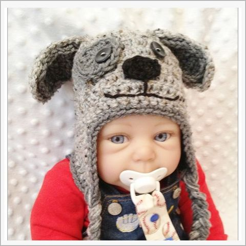 Puppy,Dog,Baby,Hat,with,Braid,Ties,Puppy Dog Baby Hat, Newborn, Baby Shower Gift