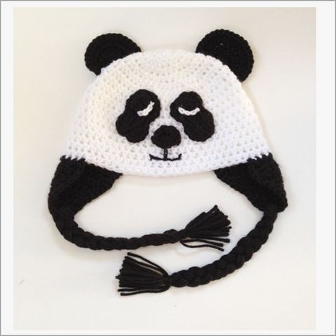 White,and,Black,Panda,Bear,Ear,Flap,hat,with,Braid,ties,Panda Bear Animal hat, ear flap hat, Childs animal hat