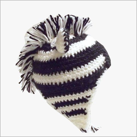 Zebra,Animal,Hat,with,black,and,white,stripes,braided,earflap,ties,Zebra hat, crochet animal hat, toddler Zebra hat
