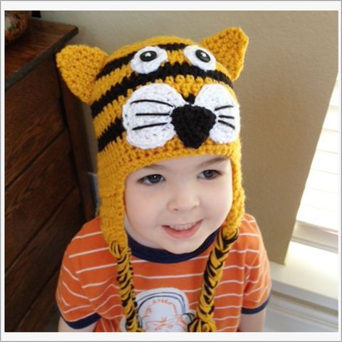 Tiger,Crochet,Ear,Flap,Hat,with,Braids,Tiger hat, animal hat, orange, black, photo props, toddler animal hats. LSU Tiger