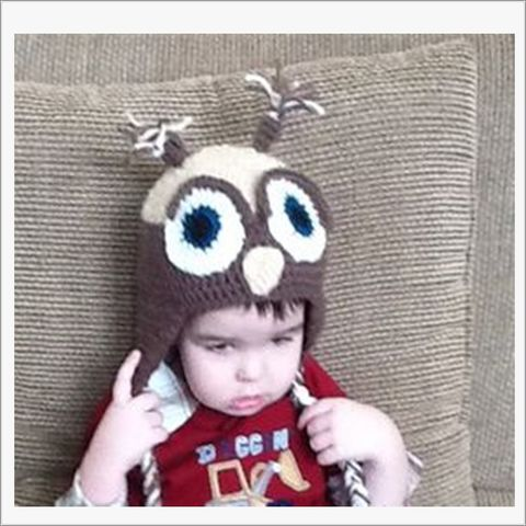 Boys,Owl,Hat,in,Brown,and,Beige,Owl hat, Crocheted boys Owl hat, brown, beige, animal hats