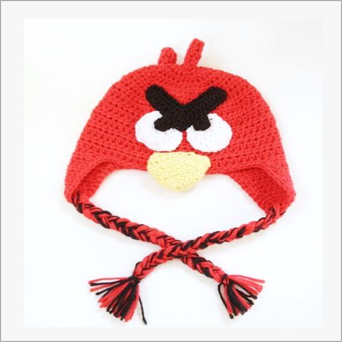 Red,Bird,Hat,with,earflaps,Angry Bird Hat, Red bird, Cardinal Bird hat, animal hat, newborn, Toddler