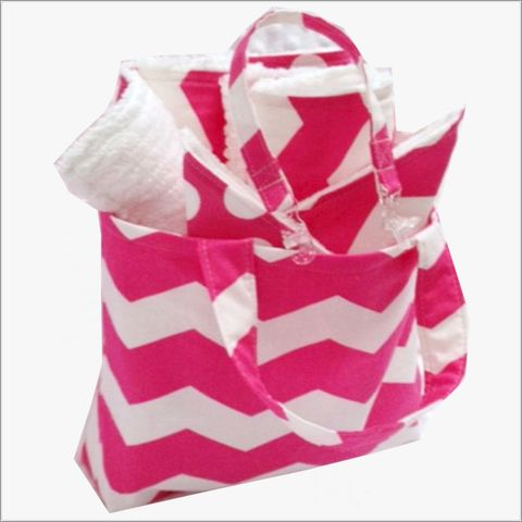 Pink,Chevron,Mini,Diaper,Tote,bagand,8,pc,Gift,Set,Pink Chevron Tote, pink chevron diaper bag, chevron baby gift, newborn gifts, baby shower gifts,\