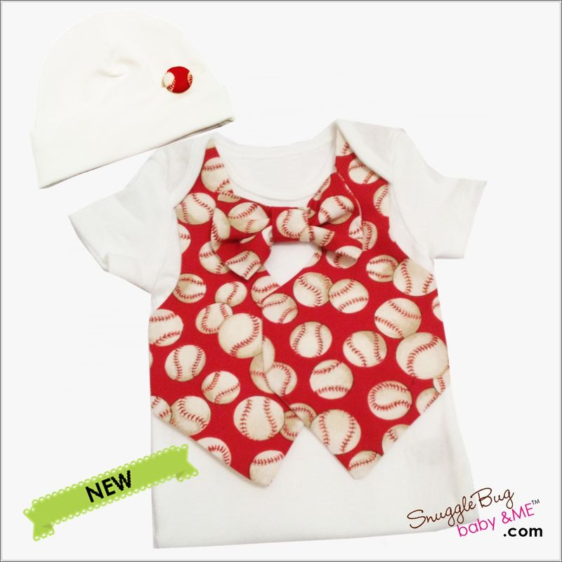 Red Baseball Vest Tie and Hospital Hat Bodysuit Outfit - product images