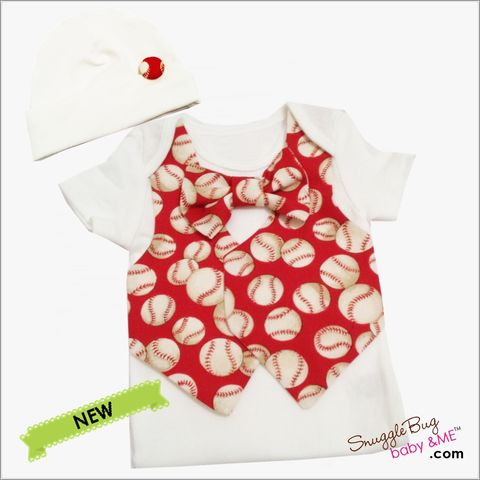 Red,Baseball,Vest,Tie,and,Hospital,Hat,Bodysuit,Outfit,Red Baseball baby outfit, Baseball Vest Tie and Hat, Newborn bodysuit outfit, Baseball, Tie and vest set