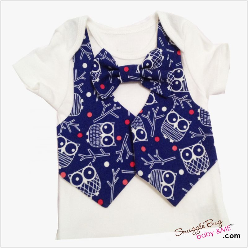 Boy Owl Vest Tie Newborn coming home outfit - product images  of