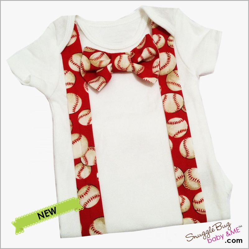 Red Baseball Suspender and Tie coming home outfit - product images  of