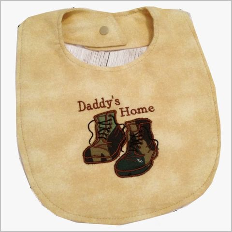 Military,Welcome,Home,Daddy,Bib,with,Appliqued,Camo,Boots,Camo boots bib, military boots, camo baby gift