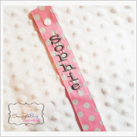 Pink,and,Grey,Polka,Dot,Personalized,Pacifier,Clip,Pink polka dot pacifier clip, personalized pink pacifier clip, newborn, baby girl, baby shower gift, hospital gift