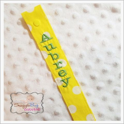 Personalized,Yellow,and,white,polka,dot,pacifier,clip,Yellow polka dot pacifier clip, personalized yellow pacifier clip, personalized pacifier clips, newborn, toddler, baby shower gifts, monogrammed