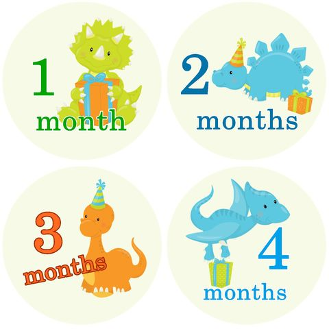 Baby,Dinosaur,with,presents,Monthly,Birthday,Stickers,Baby Dinosaurs Birthday Stickers, Dinosaur Stickers, Dinosaur Onesie Stickers, baby shower gifts