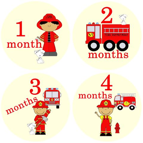 Firefighter,Boy,African,American,Monthly,Birthday,Stickers,Fireman African American, African American Birthday Stickers, Boy Fireman Stickers, Ethnic