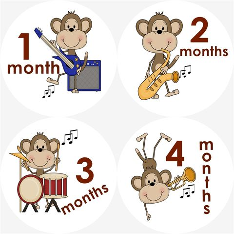 Music,Monkey,Baby,Monthly,Birthday,Stickers,Monkey Birthday Stickers, Music Birthday Stickers, Monkey, Birthday Stickers, Newborn gift, baby shower gifts