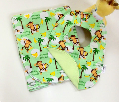 Monkey,Business,2pc,Receiving,Blanket,and,Bib,Set,Monkey baby gift set, monkey receiving blanket, monkey reversible bib, baby shower gift ideas, boys, girls