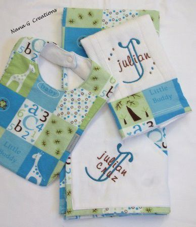 3pc,Personalized,baby,gift,set,Children,Baby,personalized_3pc_set,newborn,baby_shower_gifts,boys,receiving_blankets,bibs,burp_cloths,the_artisan_group,flannel,trifold_diaper