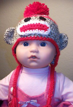Newborn,Sock,Monkey,Hats,Children,Baby,sock_monkey_hat,newborn,boy,girl,flower,pom_pom,hat,brown,red,white