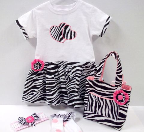 Boutique,Zebra,4,pc,Dress,Purse,Ribbon,Socks,,and,Bow,Set,zebra tee shirt dress set, purses, totes,diva,unique,trendy,upscale,socks,headbands,boutique style