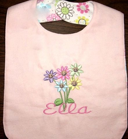 Personalized,Flower,Bib/Smiling,Flowers,Personalized Girls Bib, flowers, reversible, baby shower gift