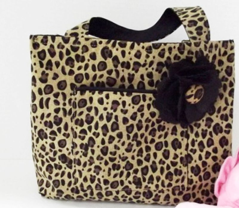 Leopard Print small Girls Tote Bag /Black fabric Flower/Leopard ...