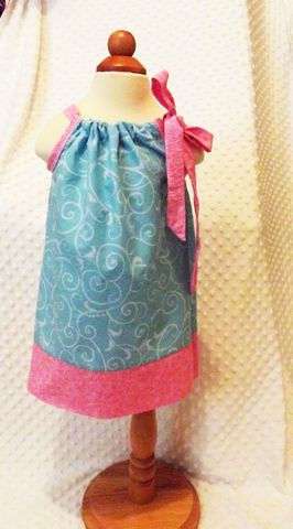 Turquoise,and,Pink,Pillowcase,Sundress,with,Matching,Headband,Pillowcase sundress, girls dress and headband set, turquoise, pink, fabric flower headband