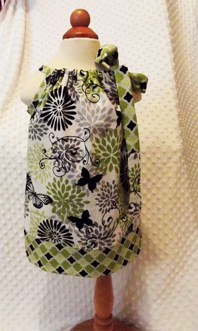 Pillowcase,-Sundress,Butterflies,and,Flowers,in,Green,Black,Pillowcase dress in green, girls sundress, green flowers, butterflies
