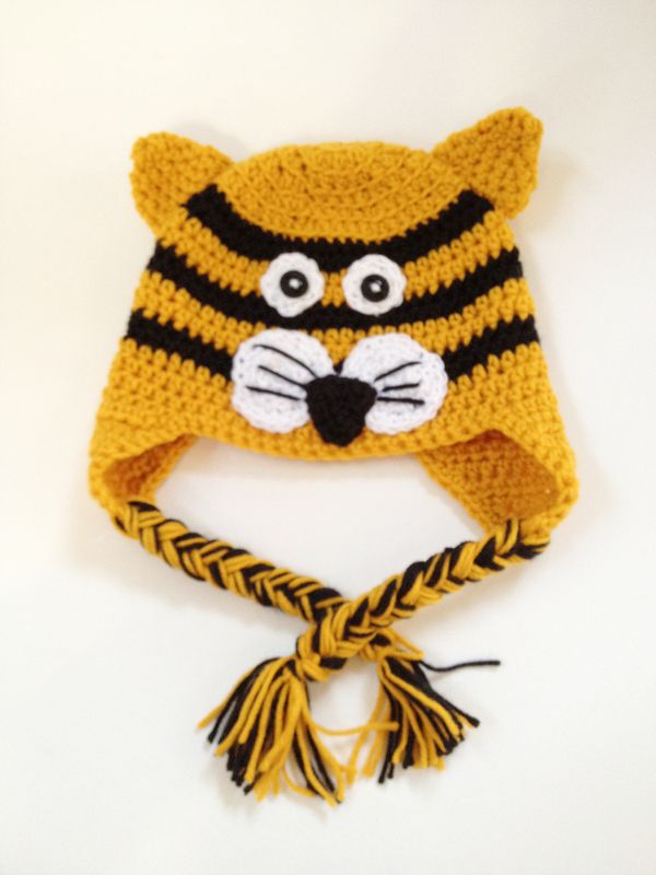 Tiger Crochet Ear Flap Hat with Braids - Snugglebug Baby ...