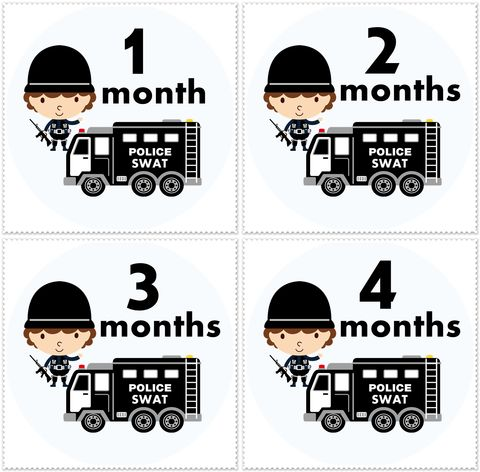 Police,SWAT,Team,Monthly,Onesie,Birthday,Stickers,Police Swat stickers, Monthly Onesie Sticker, boys birthday stickers, newborn stickers, black and white, baby shower gifts
