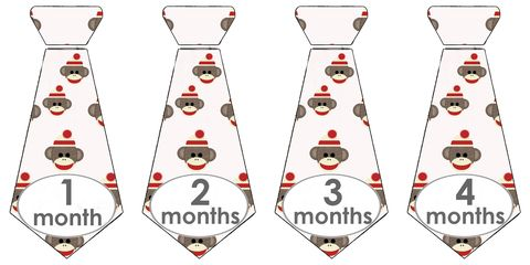 Sock,Monkey,Tie,Onesie,Stickers,for,Photo,Props,Sock Monkey Ties, Necktie onesie stickers, sock monkey, boys ties, photo props for boys, baby shower gift idea