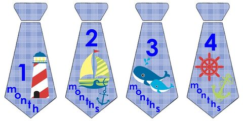Nautical,Boys,Tie,Monthly,Onesie,Stickers,for,photo,props,Nautical Onesie Tie, Sailboat tie, lighthouses, whales, neckties, onesie necktie