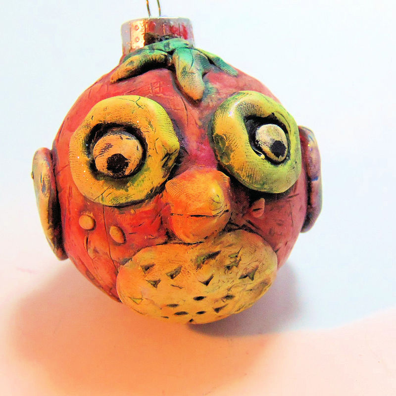 Red Owl Christmas Ornament Polymer Clay Covered Christmas Ball