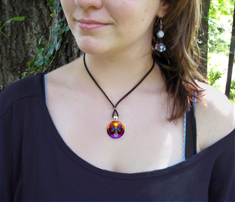 "Chakra Jewelry, Angel Necklace, Rainbow Reiki, ""Phoenix Rising"" - product images  of"