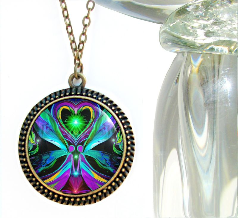 "Twin Flames Necklace, Angel Heart Pendant, Chakra Jewelry ""Unconditional Love"" - product images  of"