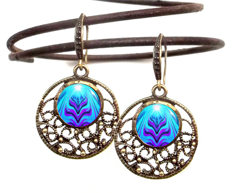 "Blue & Purple Earrings Chakra Art Reiki Jewelry ""Intuitive Truth"" - product images  of"