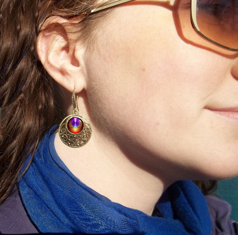 "Chakra Earrings, Reiki Healing Jewelry ""Chakra Heart"" - product images  of"