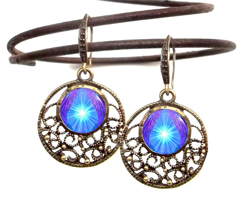 "Violet Blue Purple Earrings, Reiki Energy, Throat Chakra ""Hope"" - product images  of"