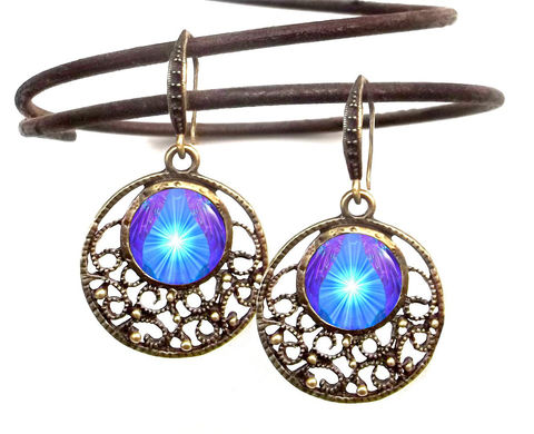 Violet,Blue,Purple,Earrings,,Reiki,Energy,,Throat,Chakra,Hope,purple, blue, violet, earrings, jewelry, ear rings, throat chakra, chakras, art, reiki healing, energy, accessory, hippie, boho, bohemian, yoga, angel, angels, abstract, psychedelic, glowing, bright, colorful, eye catching, show stopper, wire earrings, vi
