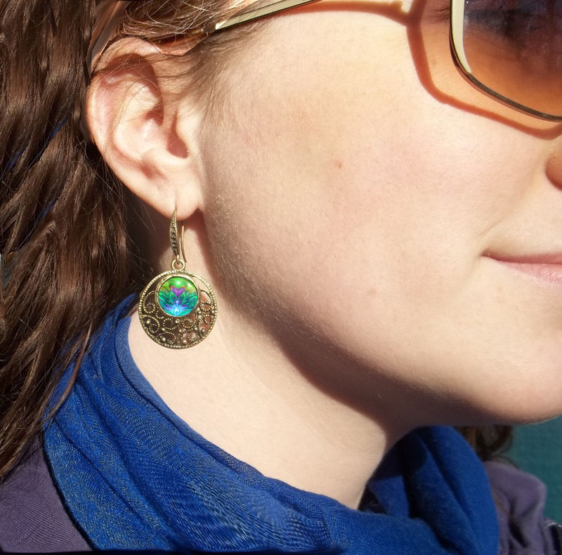 "Aqua Teal Earrings Reiki Healing Jewelry ""Water Healers"" - product images  of"