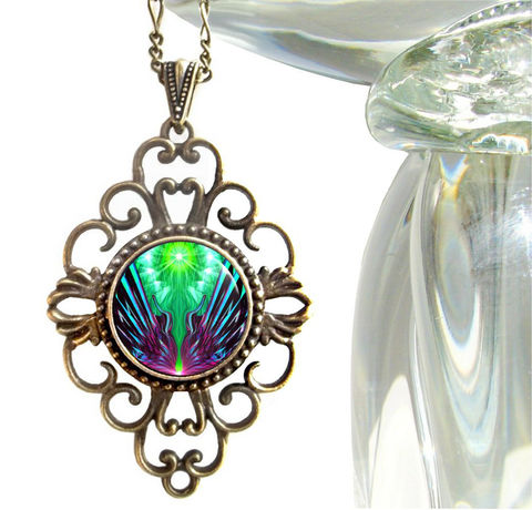 Green,&,Purple,Necklace,,Psychedelic,Art,,Hippie,Jewelry,Spreading,New,Wings,chakras, hippie, boho, bohemian, festival, chic, new age, psychedelic, metaphysical, blue, purple, teal, abstract, necklace, pendant, pendant necklace, reiki, healing, energy, spiritual, jewelry, meditation, chakras, angel, yoga, alternative healing, visi