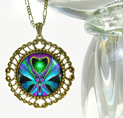 Twin,Flames,Necklace,,Reiki,Healing,,Large,Angel,Pendant,Necklace,Unconditional,Love, twin flames, twin souls, heart, love, metaphysical, blue, purple, teal, abstract, necklace, pendant, pendant necklace, reiki, healing, energy, spiritual, jewelry, meditation, chakras, angel, yoga, alternative healing, visionary, art