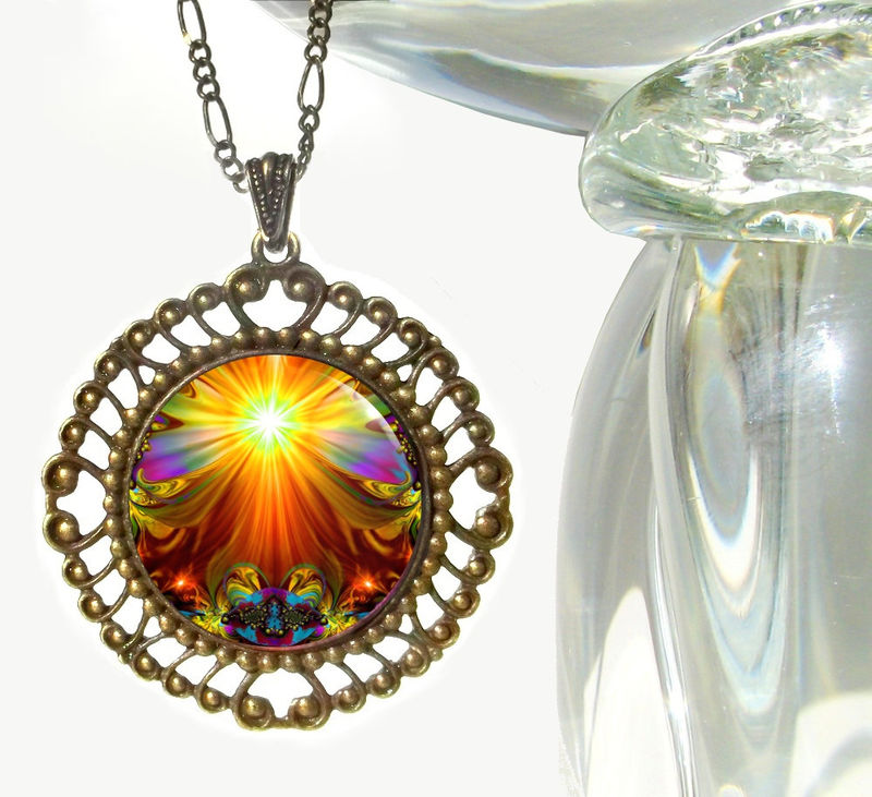 "Orange Necklace, Psychedelic Chakra Jewelry, Energy Pendant ""Light Being"" - product images  of"
