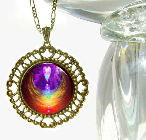 Chakra,Jewelry,,Reiki,Angel,Necklace,,Rainbow,Pendant,Chakra,Heart, chakras, heart, metaphysical, rainbow, abstract, necklace, pendant, pendant necklace, reiki, healing, energy, spiritual, jewelry, meditation, angel, yoga, alternative healing, visionary, art
