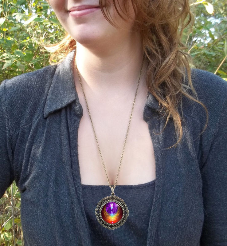 "Chakra Jewelry, Reiki Angel Necklace, Rainbow Pendant ""Chakra Heart"" - product images  of"