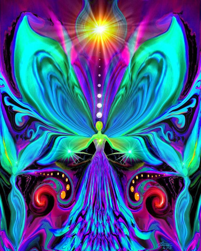 Rainbow Psychedelic Angel Chakra Art Print Quot Vibrance