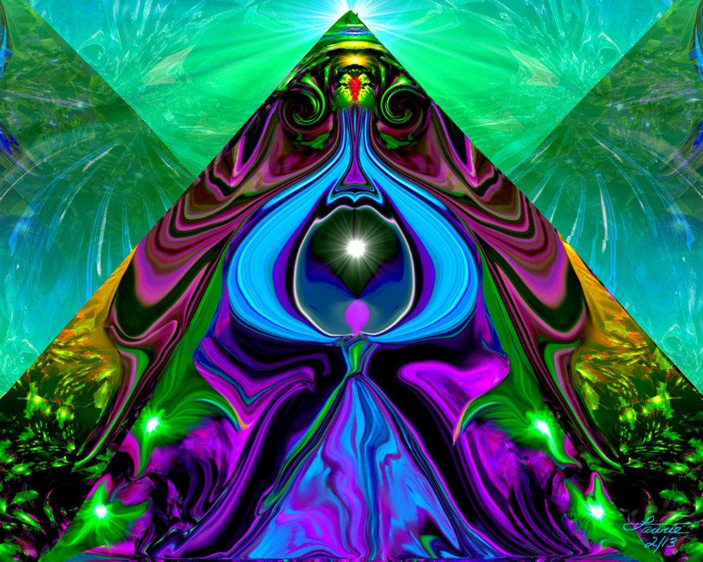 Pyramid Art Third Eye Abstract Angel Print Reiki