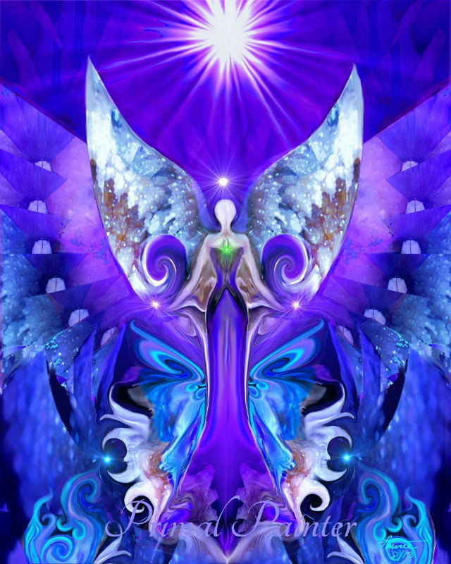 Angel Healing, Reiki Energy, Purple Chakra Art
