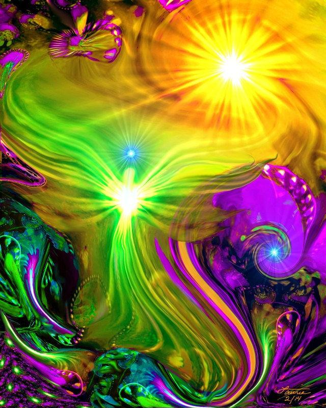 Chakra Art Abstract Psychedelic Angel Rainbow Art Print